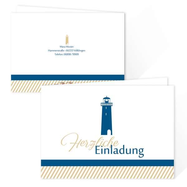 """Einladungskarten zur Kommunion Taufe Konfirmation """"Leuchtturm"""" online drucken lassen"""