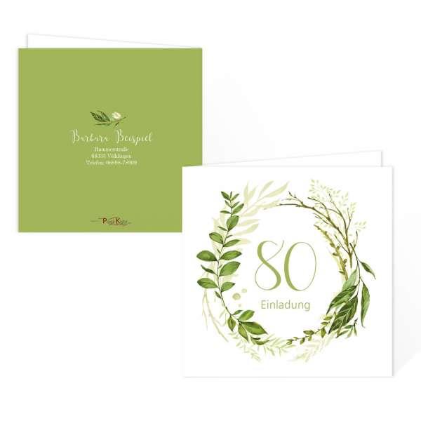 """florale Einladungskarte zum Geburtstag """"Greenery"""" online drucken lassen"""