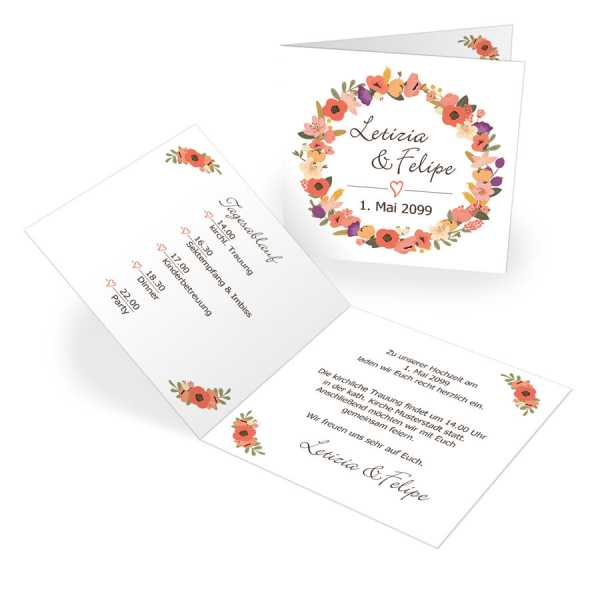 Einladungskarten zur Hochzeit Blütenkranz drucken