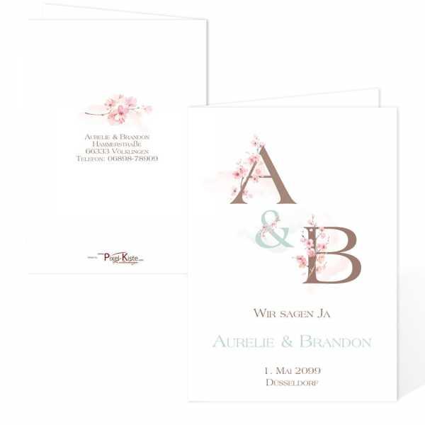 traumhafte Einladungskarten zur Hochzeit Kirschblüte