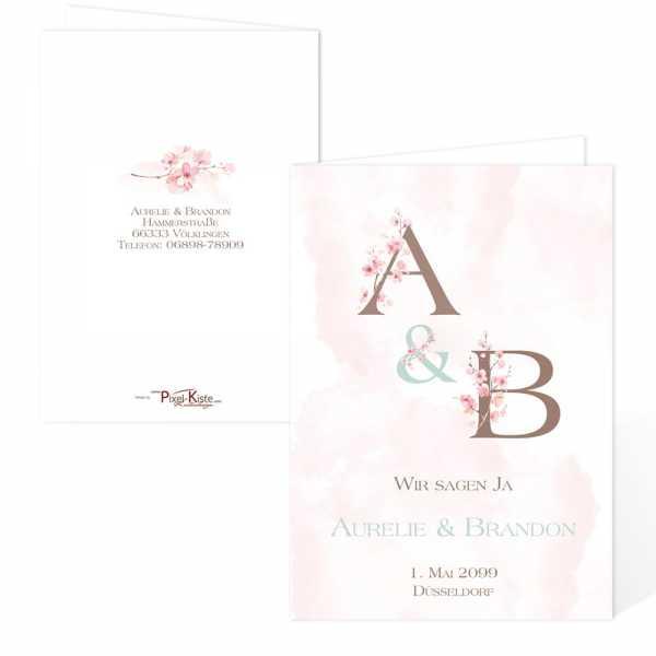 romantische Einladungen zur Hochzeit Kirschblüte pastell