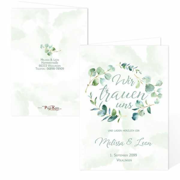 Einladungskarten zur Hochzeit Eukalyptuskranz drucken lassen