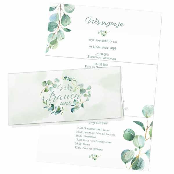 traumhafte Einladungskarten zur Hochzeit mit Eukalyptus im Wickelfalz-Format