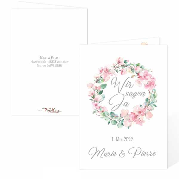 traumhafte Hochzeitseinladungen mit Kirschblüten und Eukalytus individuell gestalten lassen