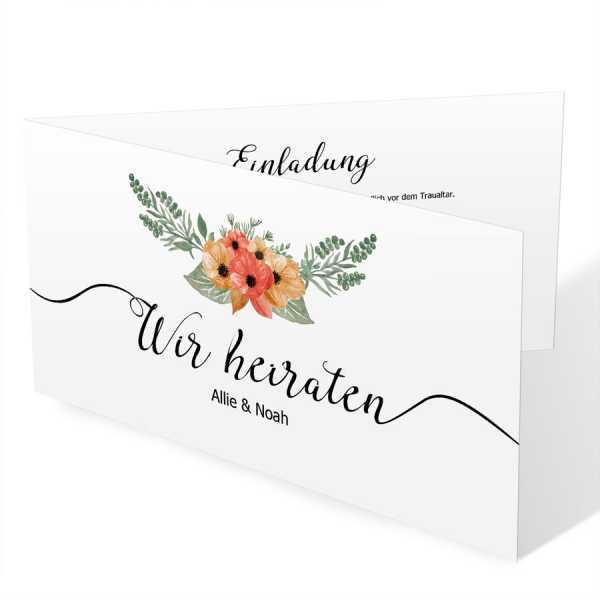 Einladungskarten Hochzeit Blumen Blüten