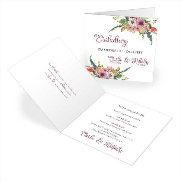 """florale Einladungskarten Hochzeit """"Carla & Nikolas"""""""