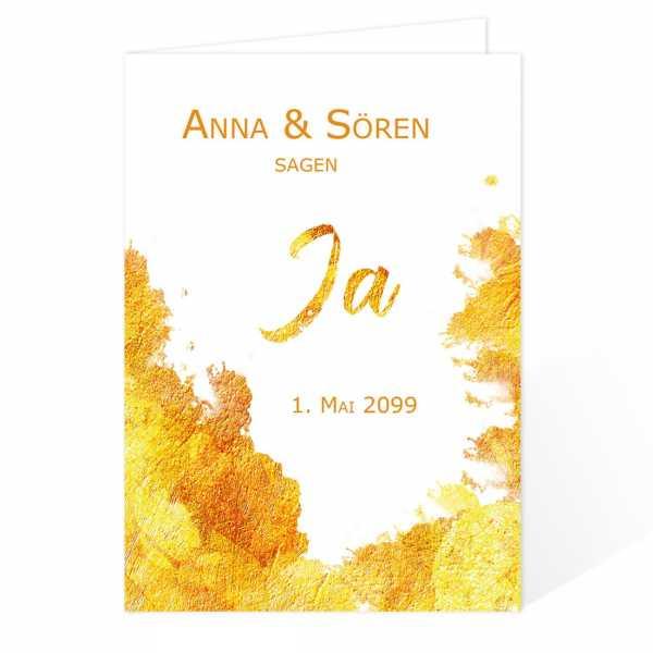 Einladungskarten zur Hochzeit Gold Watercolor drucken