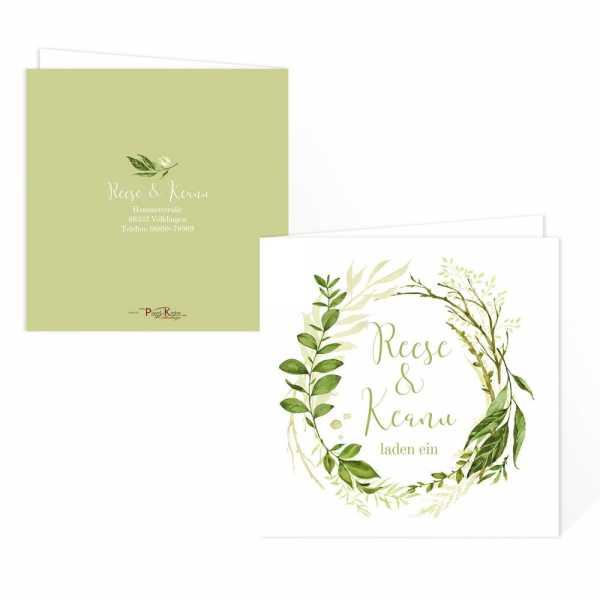 traumhafte Einladungskarten Greenery Wedding online gestalten lassen