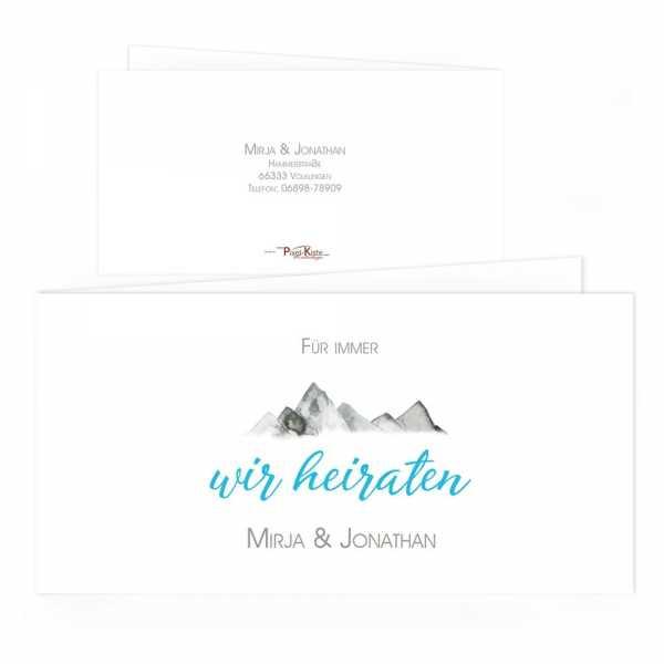 Einladungskarten für die Hochzeit in den Bergen gestalten lassen
