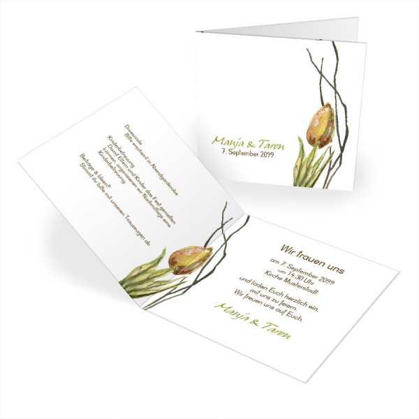 """quadratische Einladungskarten Hochzeit Tulip """"Manja & Taron"""""""