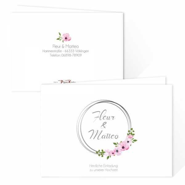 florale Hochzeitseinladungen mit Blütenrahmen online drucken