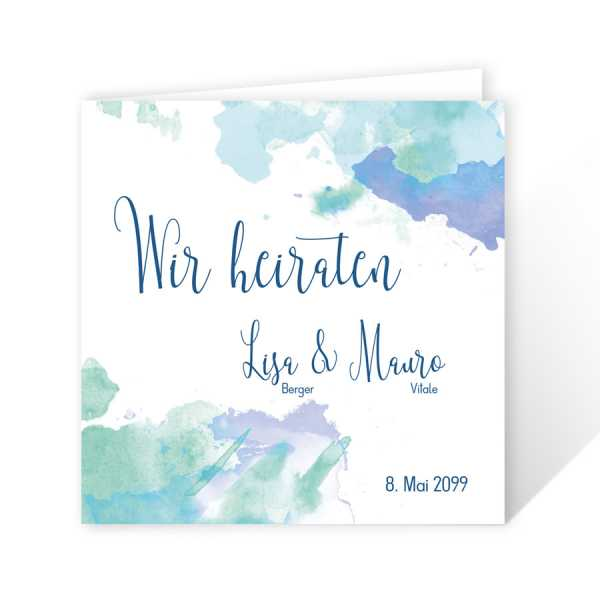 Einladungskarten Hochzeit Watercolor drucken lassen