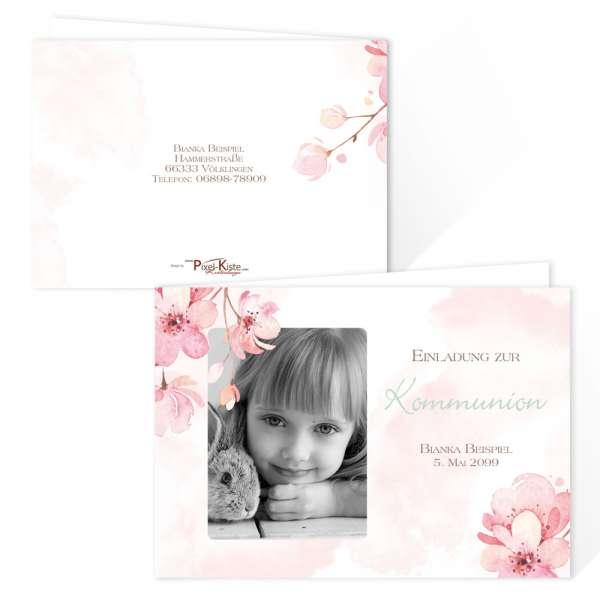 Einladungskarten Kirschblüte Jugendweihe Kommunion Konfirmation