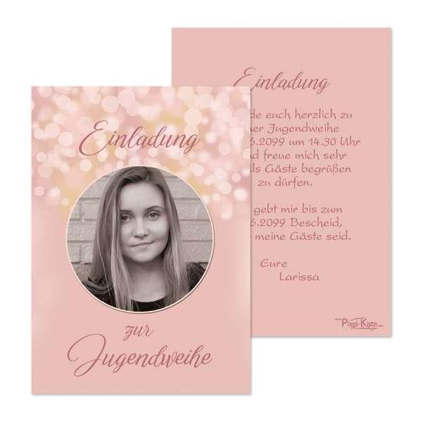 Einladungskarten zur Jugendweihe rosegold Konfirmation Kommunion