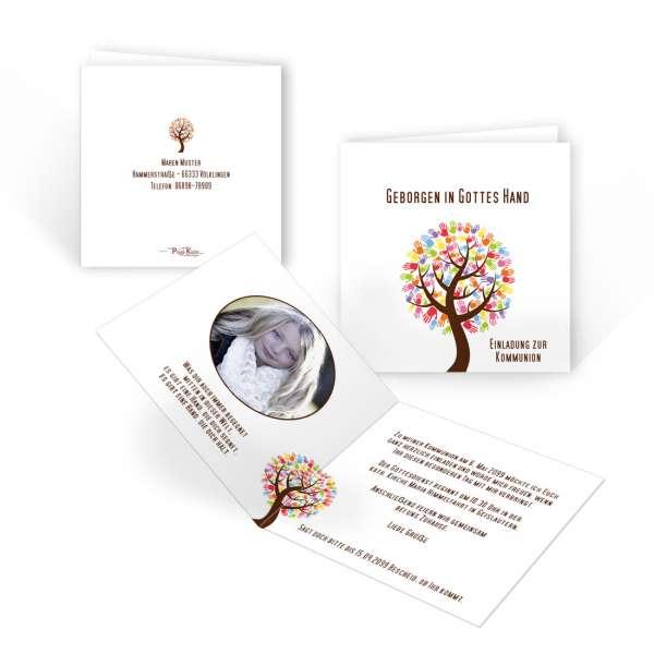 Einladung Erstkommunion Baum mit Händen