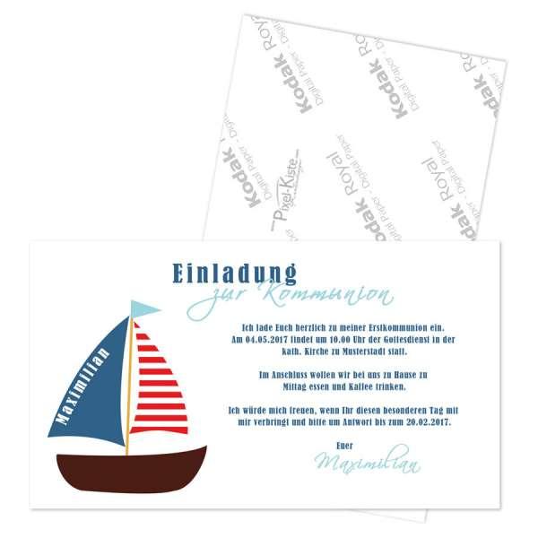 Einladungskarten Erstkommunion Boot