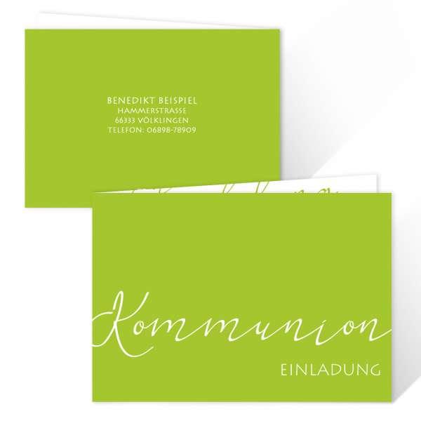 """Einladungskarten Kommunion """"Elegant"""" freie Farbwahl"""