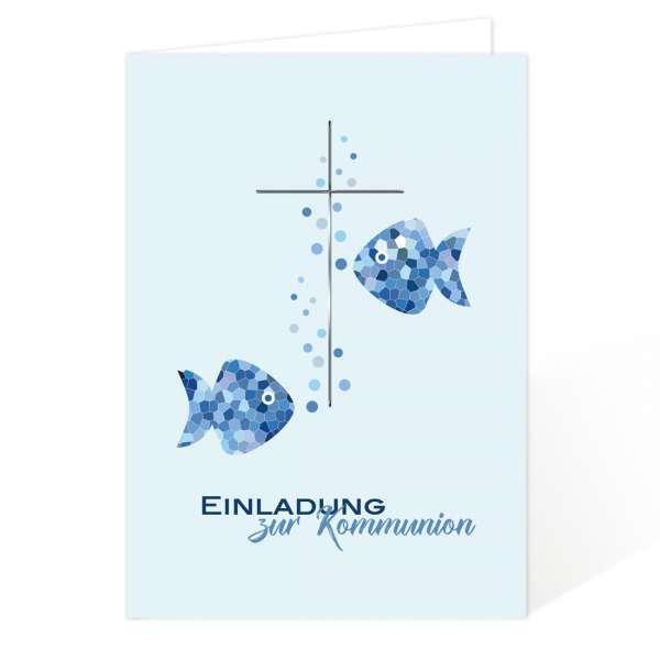 Einladungskarten Kommunion Konfirmation Fische