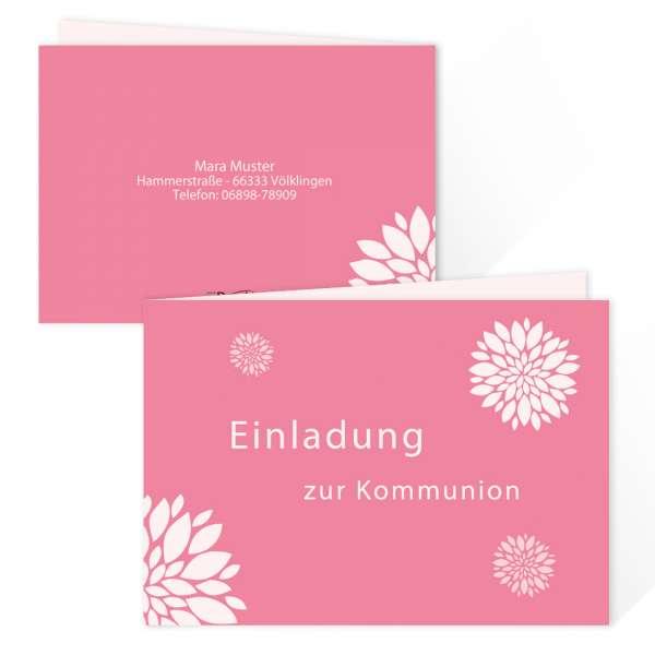 """Einladungskarten Kommunion Konfirmation Jugendweihe """"Flower"""" drucken lassen"""