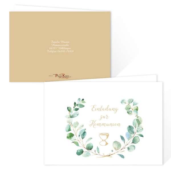 moderne Einladungskarten zur Kommunion/Konfirmation mit Kelch & Eukalyptuszweigen