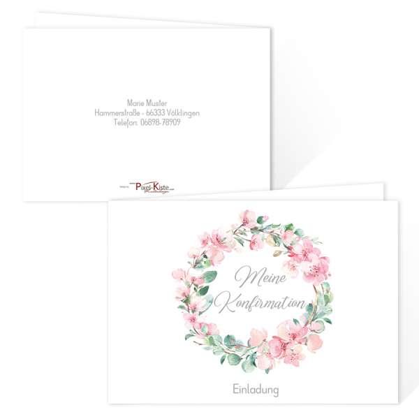 traumhafte Einladungskarten für die Kommunion oder Konfirmation mit Kranz aus Kirschblüten & Eukalyptus