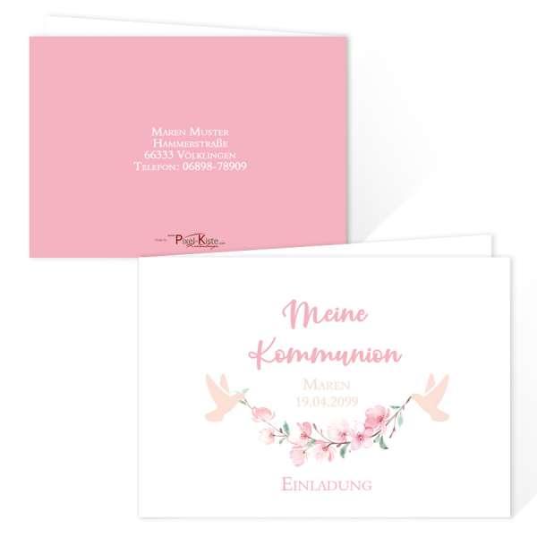 bezaubernde Einladungskarten zur Kommunion/Konfirmation mit Kirschblüten und Tauben