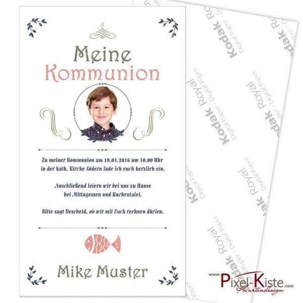 Vintage-Einladungen Erstkommunion