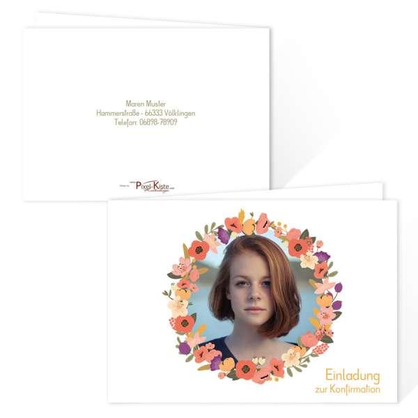 florale Einladungskarten zur Konfirmation Kommunion oder Jugendweihe mit Blumenkranz