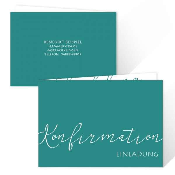 """Einladungskarten Konfirmation """"Elegant"""" freie Farbwahl"""