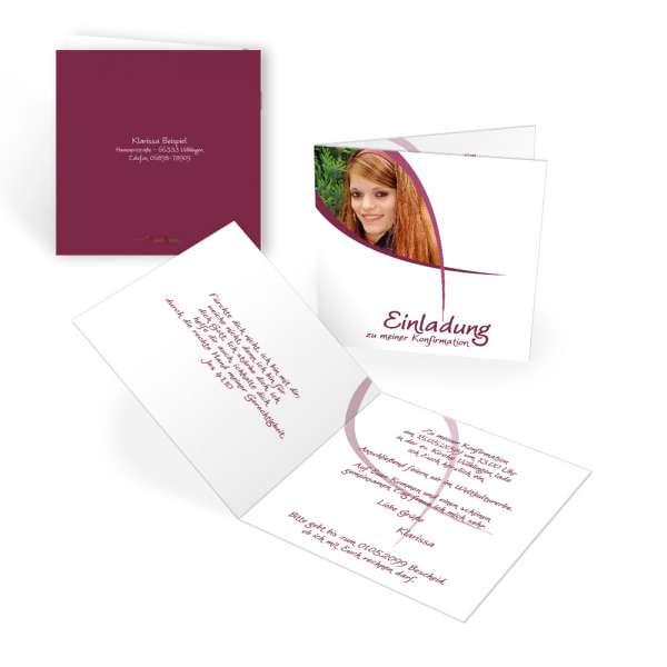 """Einladungskarten Kommunion Konfirmation """"Ichthys"""" quadratisch"""