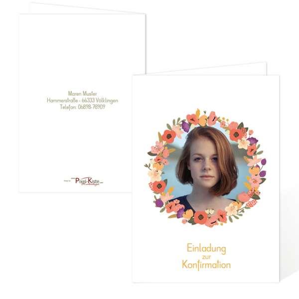 Einladungen für die Kommunion oder Konfirmation mit Blumenkranz und Foto