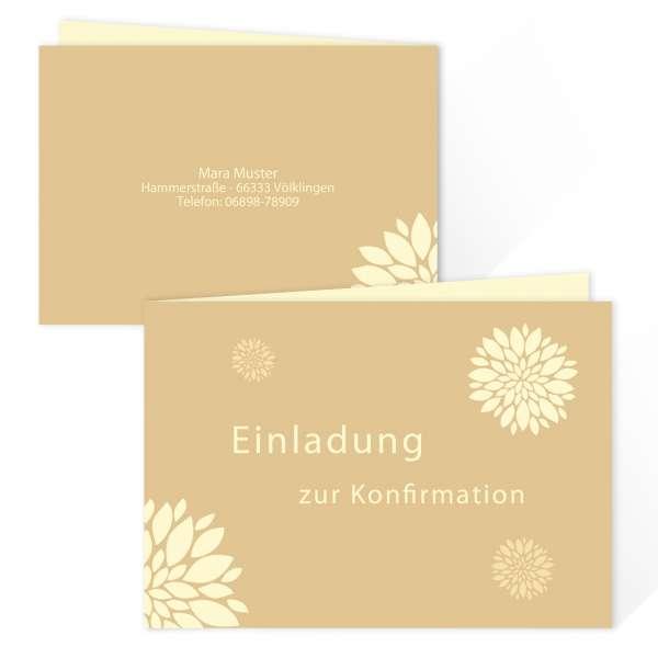 """Einladungskarten Konfirmation Kommunion """"Flower"""" drucken lassen"""