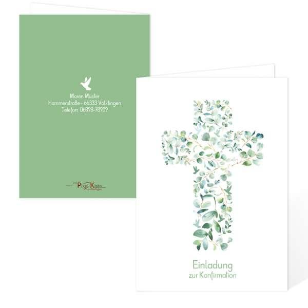 moderne Einladungen zur Konfirmation/Kommunion mit Eukalyptuskreuz und Tauben
