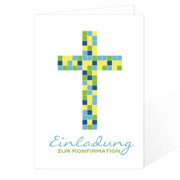Einladungskarten Konfirmation Kommunion Mosaik-Kreuz