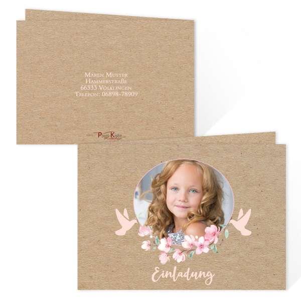 traumhafte Kommunion-Einladungskarten in Kraftkartonoptik mit Foto, Kirschblüten und Tauben