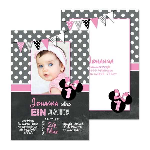 Einladungskarten zum Kindergeburtstag Micky Maus für Mädchen