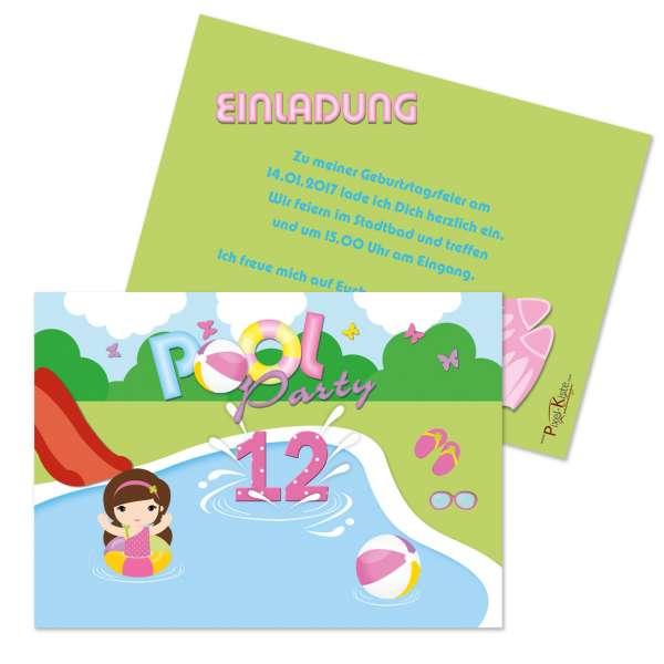 Einladungskarten Poolparty Mädchen Kindergeburtstag
