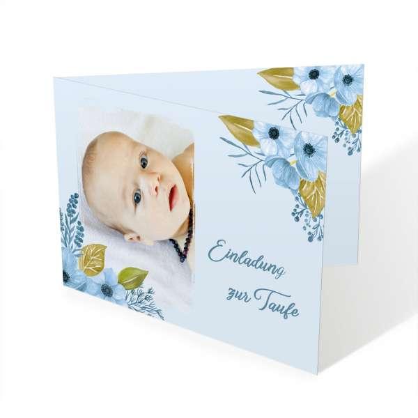 Einladungen mit Foto zur Taufe oder Namensweihe Florentina / Florian mit Aquarellblüten
