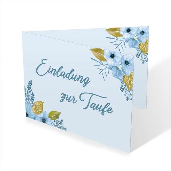Einladungskarten Taufe mit Aquarellblüten drucken