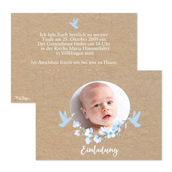 Einladungen zur Taufe oder Namensweihe in Kraftkartonoptik für Jungen Anna/Aaron