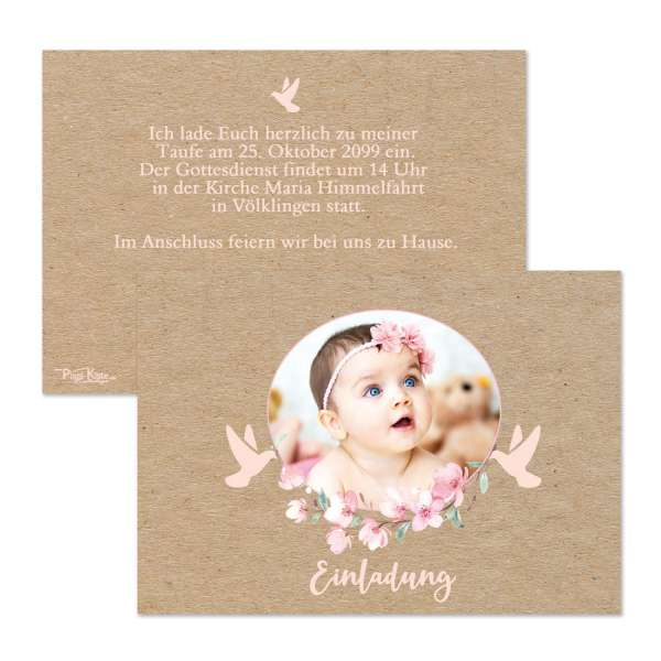 Einladungen zur Taufe oder Namensweihe mit rosa Blüten für Mädchen
