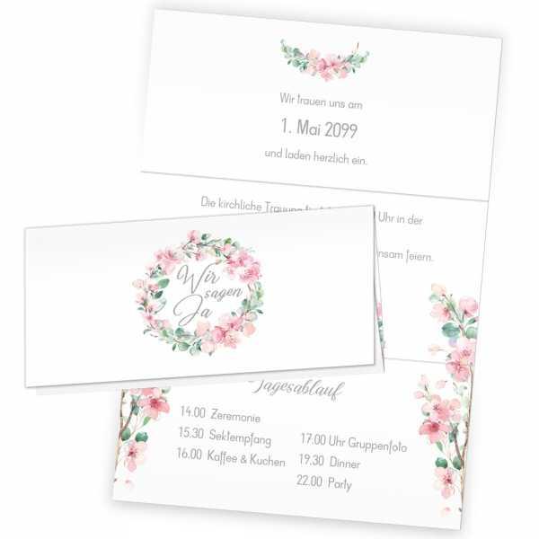 """Hochzeitseinladungen Wickelfalz mit Kirschblüten und Eukalytus """"Marie & Pierre"""""""