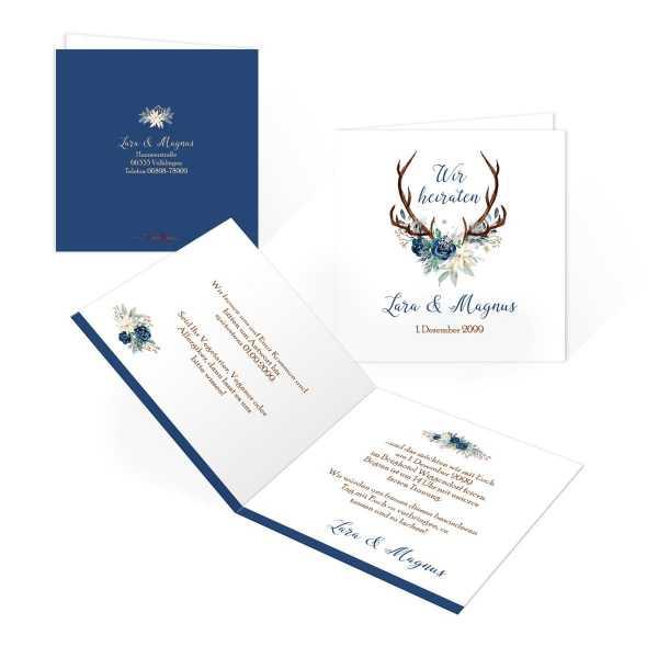 Einladungskarten zur Winterhochzeit mit Hirschgeweih und Blumen drucken
