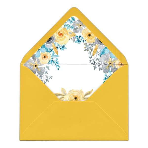Envelope Liner Briefumschlag-Inlett mit Blüten Hochzeit gedruckt