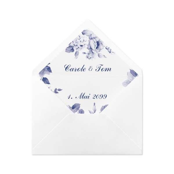 "Envelope Liner Umschlag-Liner Hochzeit gedruckt ""Carol & Tom"" Indianblue"