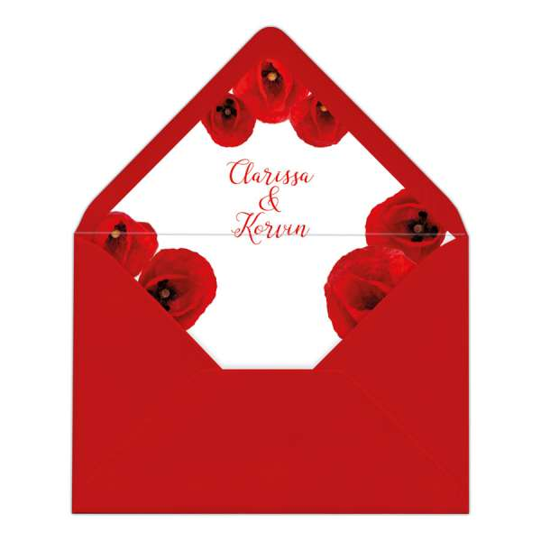 Umschlag-Liner DIY Briefumschlag-Inlett Hochzeit gedruckt Mohnblume