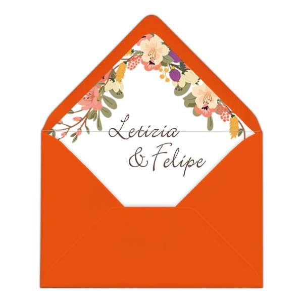 "Envelope Liner Umschlag-Liner Hochzeit bedruckt ""Letizia & Felipe"""