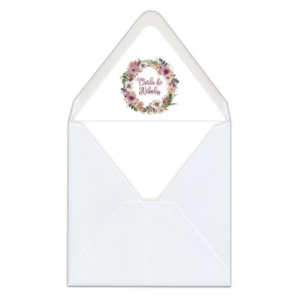 """Envelope Liner Umschlag-Liner Briefumschlag-Inlett Hochzeit gedruckt """"Carla & Nikolas"""""""