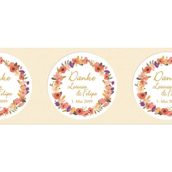runde Klebeetiketten Hochzeit Blütenkranz drucken