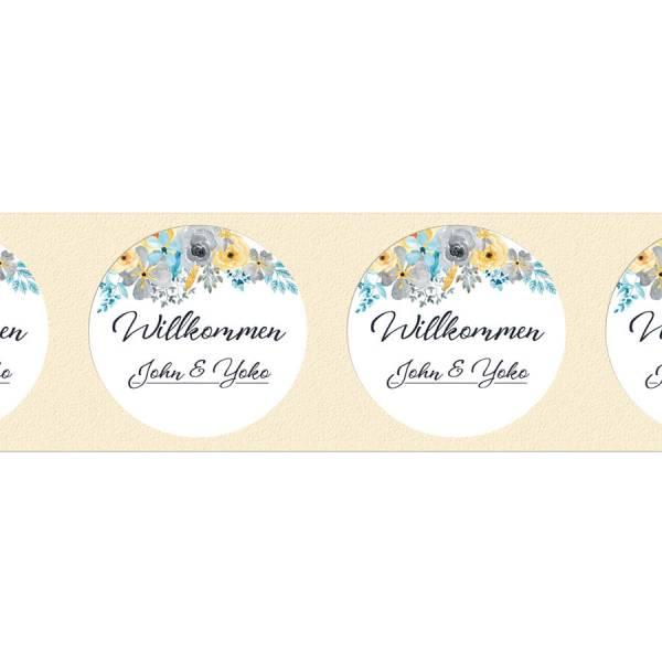 runde Etiketten Hochzeit individuell Blüten drucken
